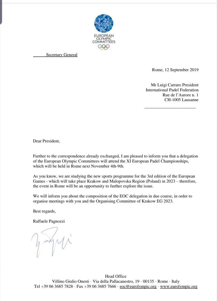 Lettera CEO, padel, Olimpiadi, luigi carraro